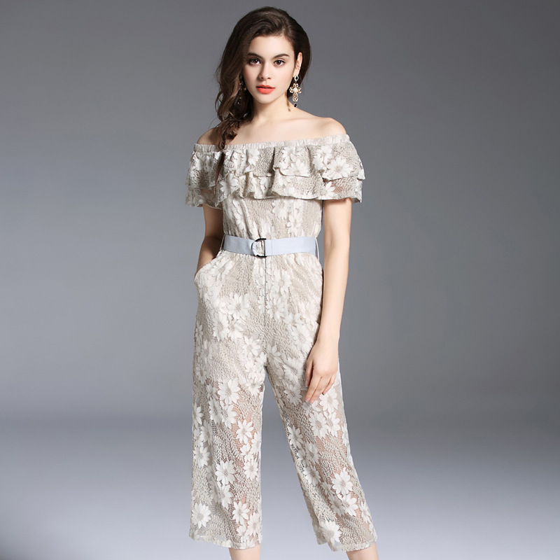 New Women Lace Strapless Pants Trousers Jumpsuit Bodycon Playsuit Women Clubwear Beach Party Romper Suit 2018 Sexy Lace Overalls 2