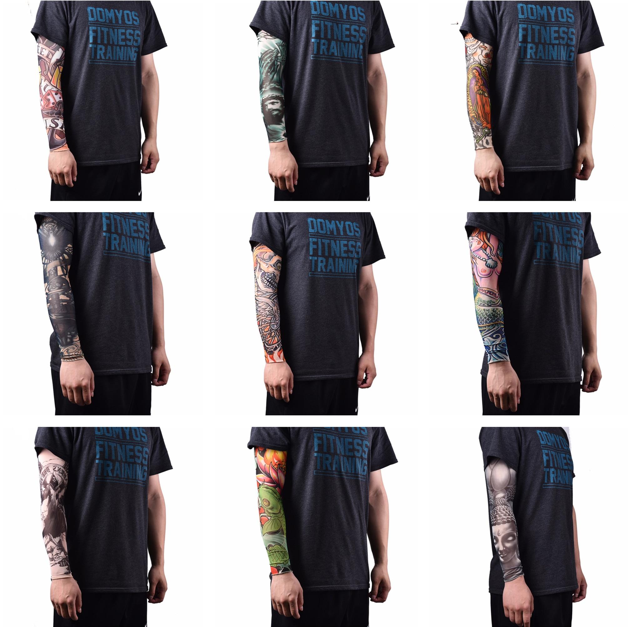 1 Pc Haut Proteive Nylon Stretchy Fake Tattoo Sleeves Arm Strümpfe Design Körper Kühlen Männer Unisex Mode Arm Wärmer Produkte Werden Ohne EinschräNkungen Verkauft