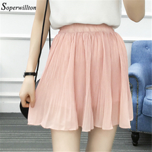 966fe97918 2018 High Waist Pleated Chiffon Skirt Women Mini Sexy Summer Short Skirts  Womens Leggings Female kawaii Sun Skirt Black #S87