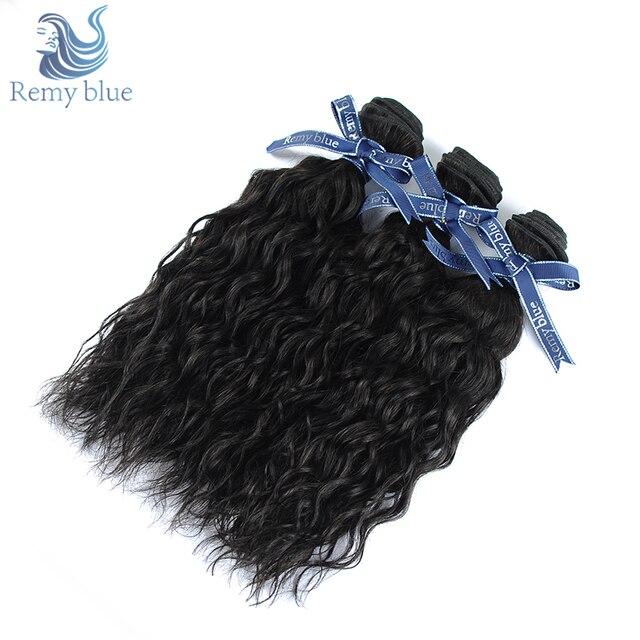 Remy Blue Hair Peruvian Water Wave Bundles Remy Human Hair Weave 3