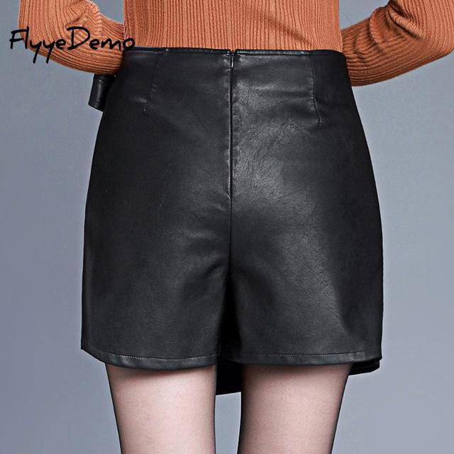 4XL Autumn Winter Women Faux Leather Skirt 2019 Black Pu Leather Belt Female OL Office Short Pantskirt Plus Size 1