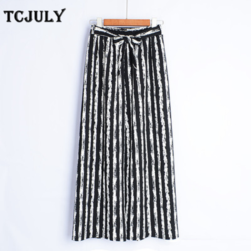 TCJULY New 20 Colors Bohemian Style Trousers With Stripes Loose Casual Plus Size   Wide     Leg     Pants   Stretched Summer   Pants   For Women