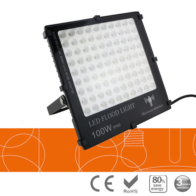 20pc/lot Untrathin Microwave Radar Induction motion sensor LED floodlight 10w 20w 50W 100W 150W AC85-265V IP65 Outdoor Lighting