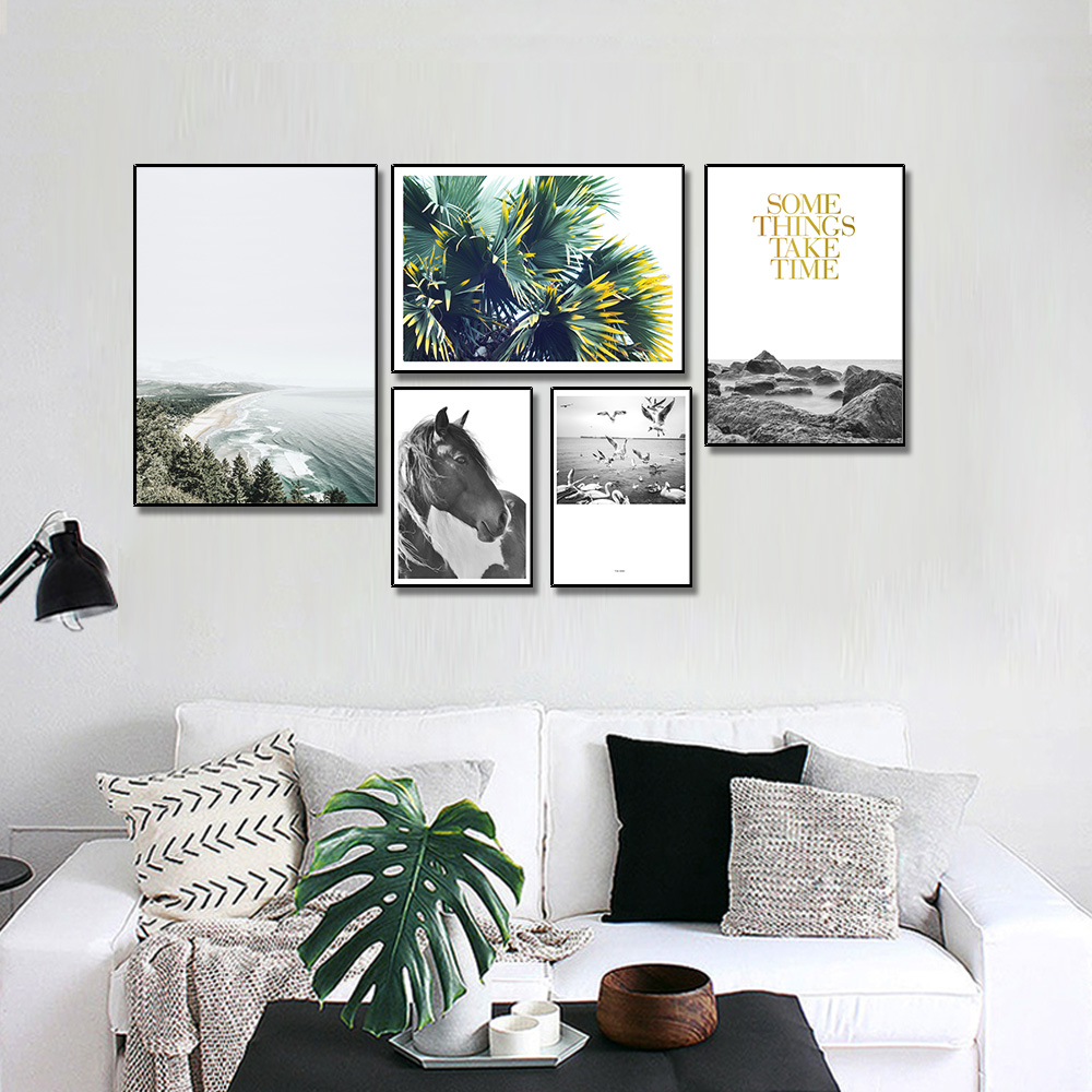 Unframed Multiple Pieces Nordic HD Canvas Painting Seagull Beach Horse For Decorative Paintings Living Room Mural Free Shipping