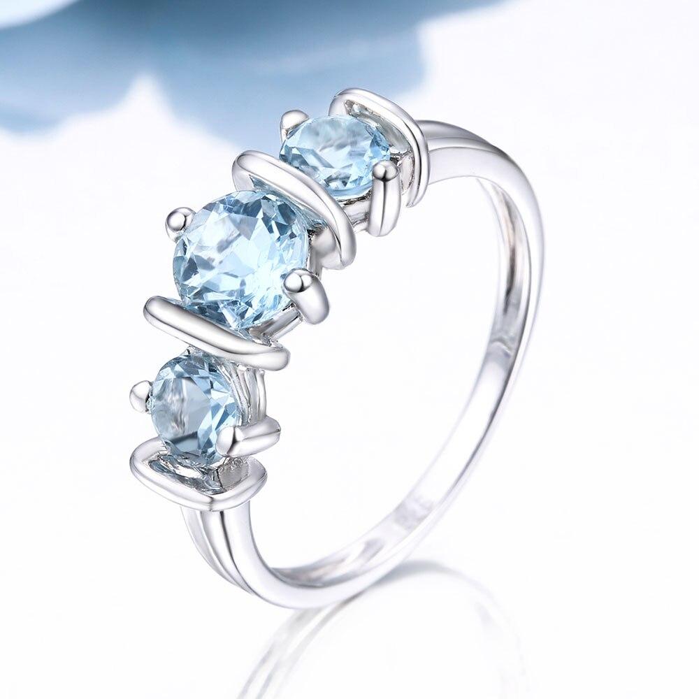 DOUBLE R 1.14ct ナチュラルブルートパーズ宝石 925 スターリングシルバー女性のための  グループ上の ジュエリー & アクセサリー からの 指輪 の中 2