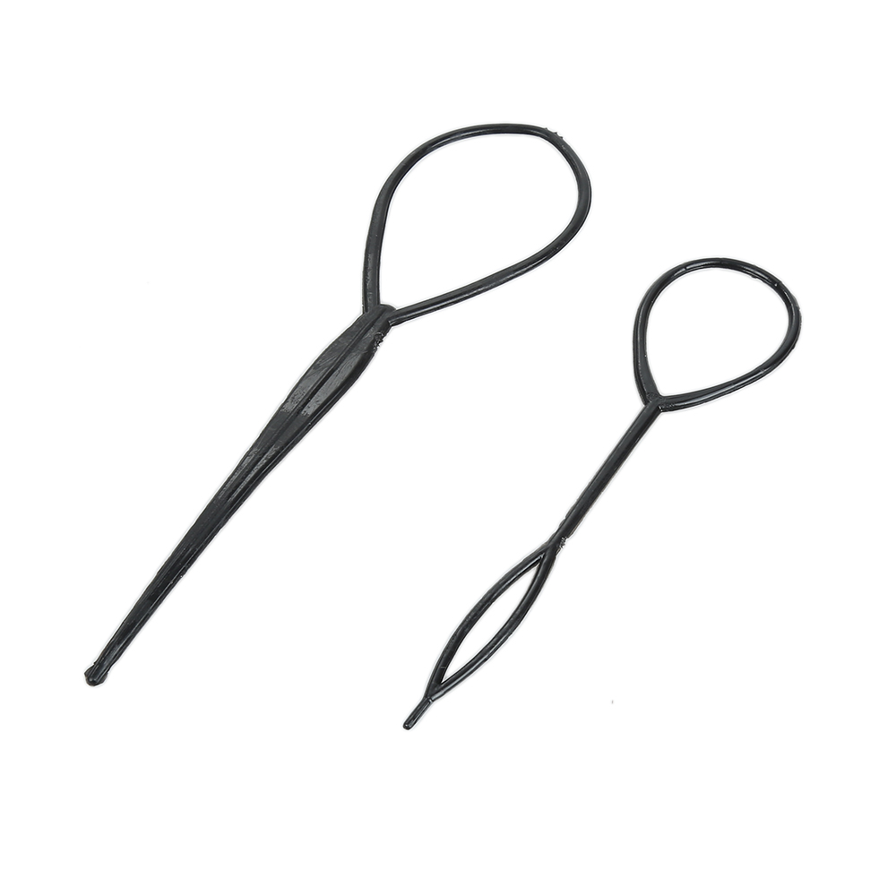 2pcs set Hair Styling Braid Maker Pull Hair Needle Ponytail Hair Braider Creator Loop Tail Clip Home Use DIY Hairdressing Tools in Braiders from Beauty Health