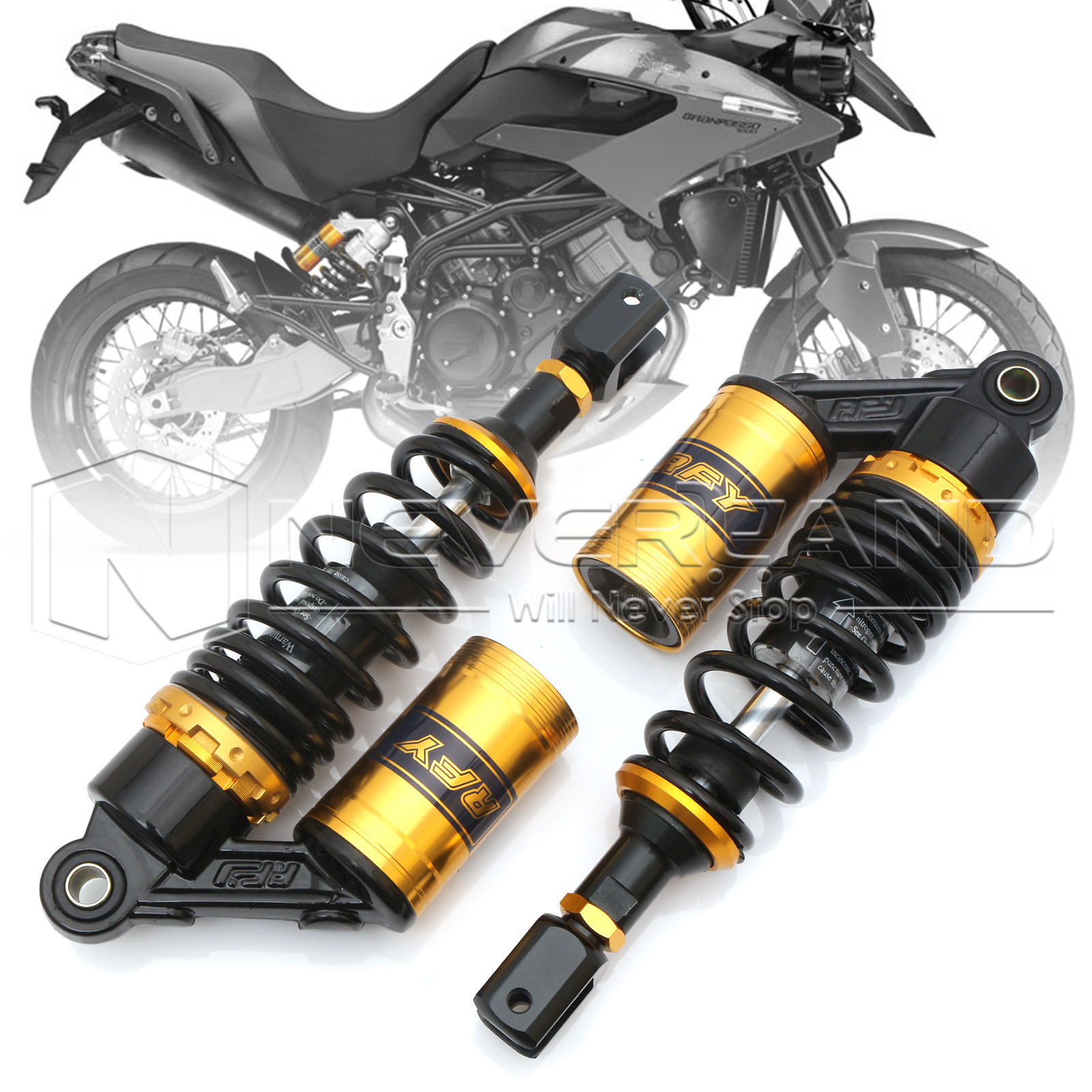 Universal 11 280mm Motorcycle Air Shock Absorber Rear Suspension Spring Damper Replacement For Yamaha Black & Gold D30