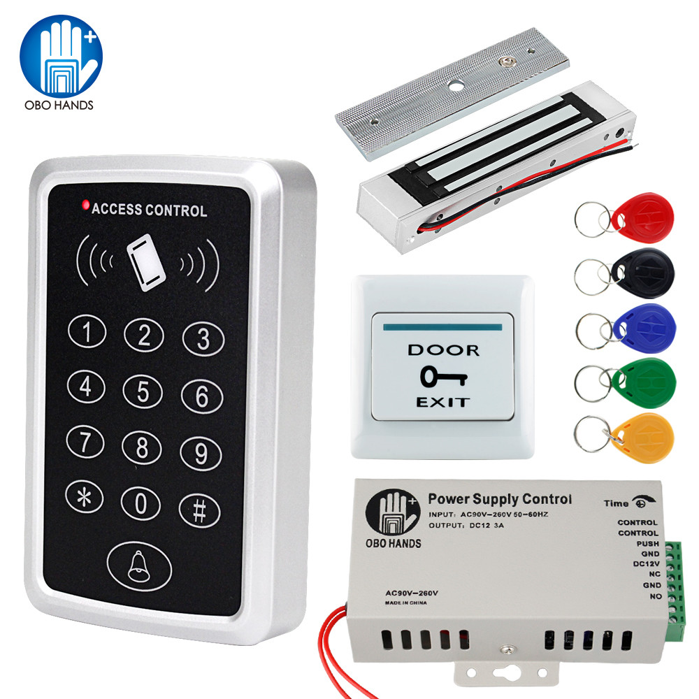 OBO Door Access Control System Kit RFID Keypad Waterproof Cover + 180KG Magnetic Strike Electronic Lock + Power Supply+5 Keyfobs