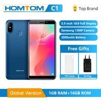 Глобальная версия HOMTOM C1 16GB 5,5 дюймов мобильный телефон 13MP камера отпечаток пальца 18:9 дисплей Android 8,1 MT6580A разблокировка смартфона