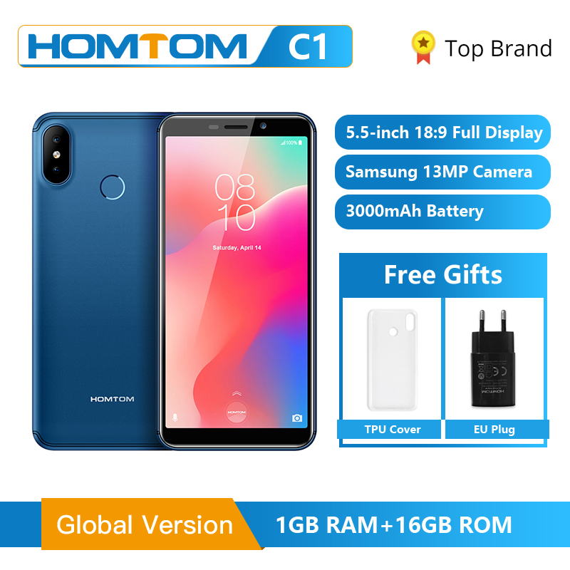 Global Version HOMTOM C1 16GB 5.5Inch Mobile Phone 13MP Camera Fingerprint 18:9 Display Android 8.1 MT6580A Unlock Smartphone