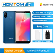 Global Version HOMTOM C1 16GB 5.5Inch Mobile Phone 13MP Camera Fingerprint 18:9 Display Android 8.1 MT6580A Unlock Smartphone(China)