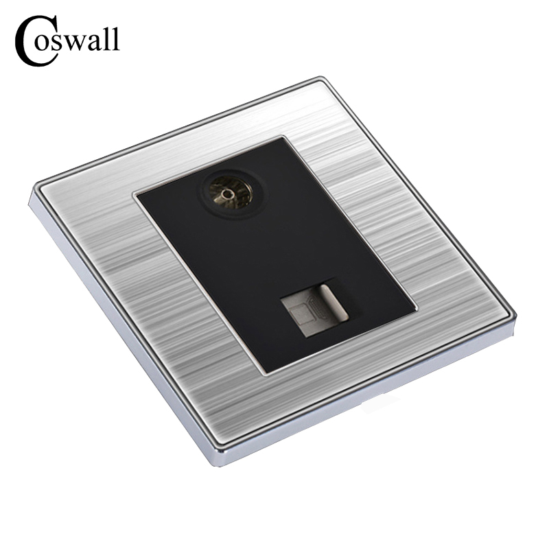 цена на COSWALL Luxury Wall Internet Socket With TV Outlet Enchufe Stainless Steel Brushed Silver Panel RJ45 Computer Plug Soquete