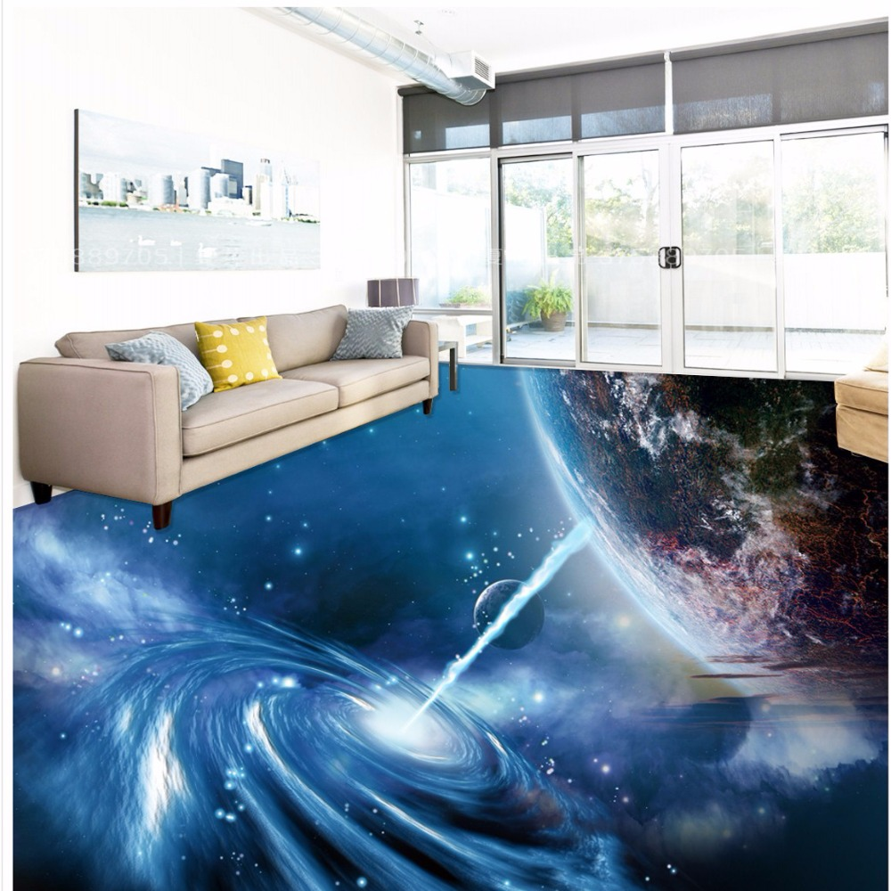 Free shipping 3d stereo cool cosmic sky blue floor tiles for Bathroom floor mural sky
