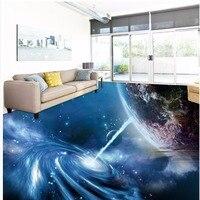Free Shipping 3D stereo cool cosmic sky blue floor tiles wallpaper mural hotel bar lounge non slip wear floor painting sticker