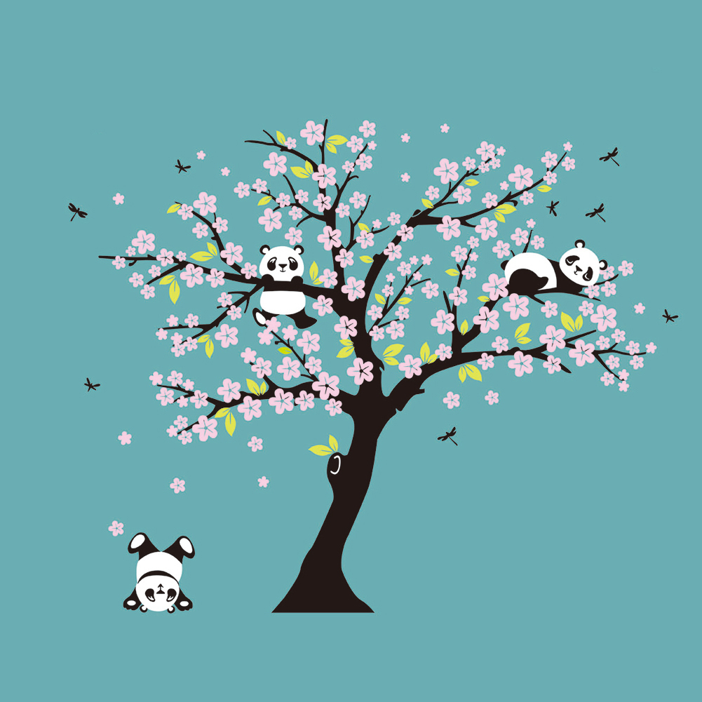 Enorme encantadora Panda bebé melocotón blanco y árbol etiqueta de ...