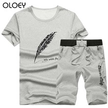 OLOEY mens sport suits short sleeve two piece men set jogging sporing sets fitness joggers running male T shirt & shorts