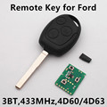 Remote Key for FORD Focus Fiesta Mondeo C MAX Fusion S MAX KA Keyless Entry HU101 Blade 433MHz 4D60/4D63 Chip