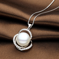 Sinya AAAAA Natural pearls pendant Necklace For women girl mother in 925 Stering silver pearl diameter 12 13mm 2017 new arrival