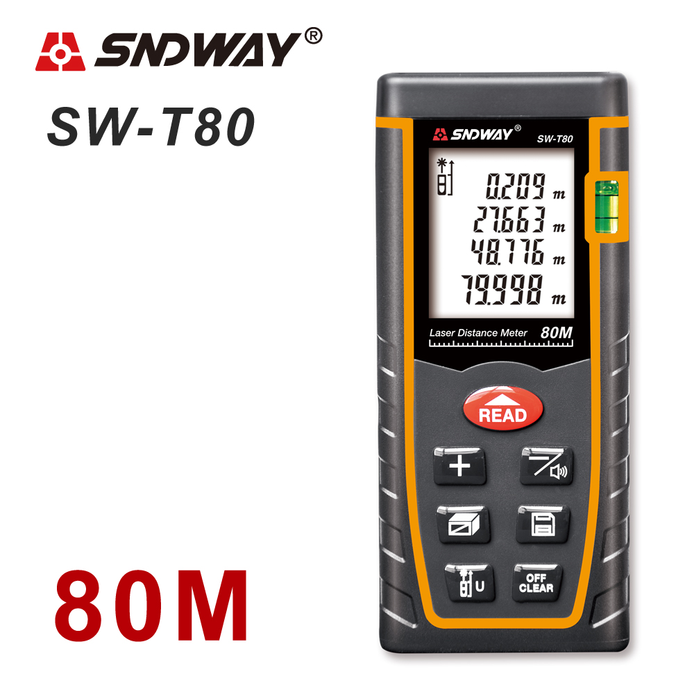 SNDWAY Laser Distance Meter 40-120M with LCD and Auto Power Off to Measure Wide Range Area 13