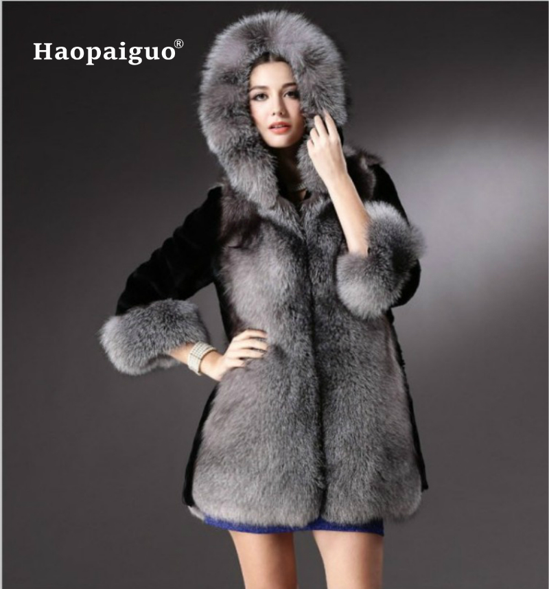 Elegant Faux Fox Fur Coat Women 2018 Winter Autumn Warm Soft Covered Botton Fur Jacket Female Casaco Overcoat Casual Outerwear