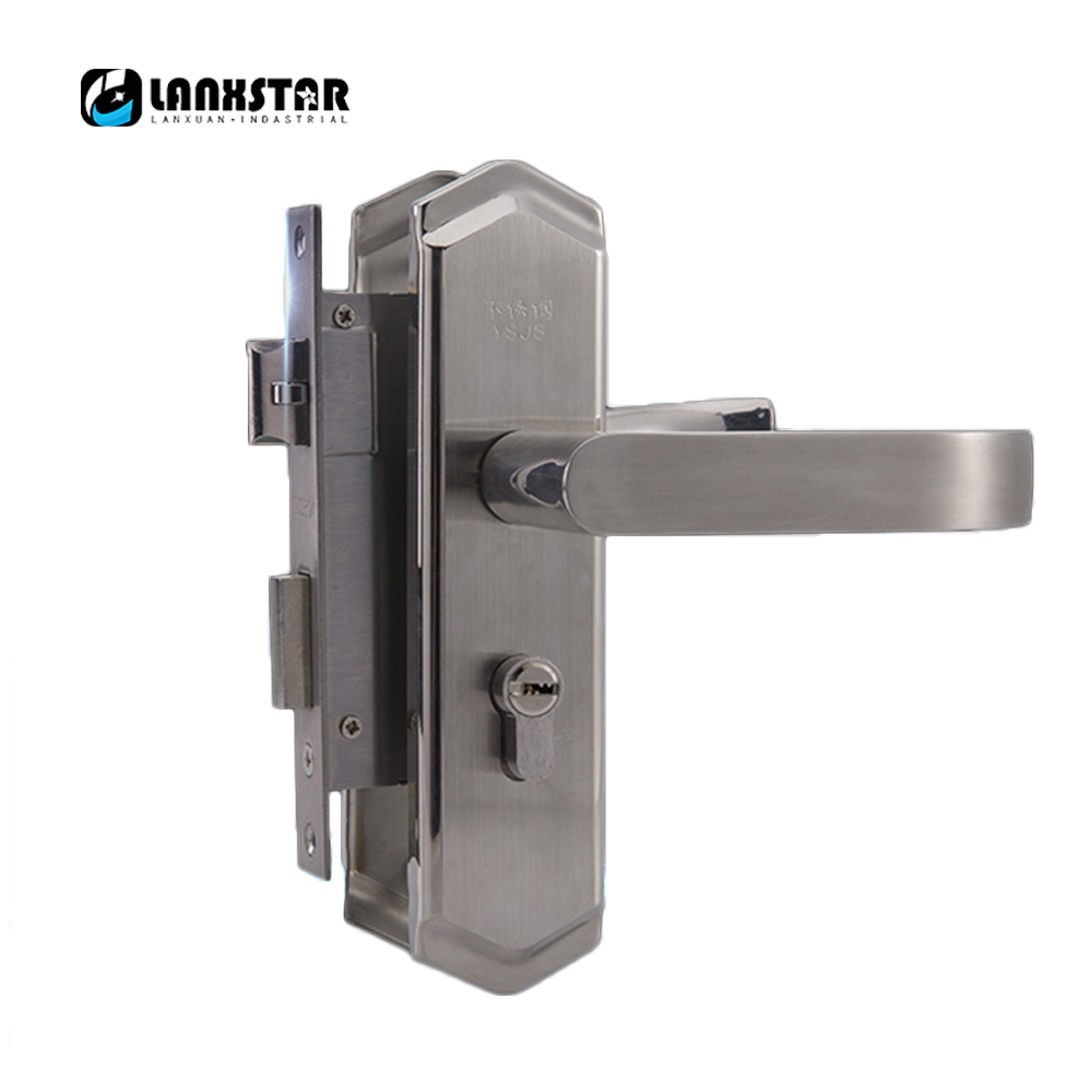 High Quality 304 Stainless Steel Interior Door Handle-lock Living-room 50mm Pitch Row Anti Card Handle Lock europe standard 304 stainless steel interior door lock small 50size bedroom big 50size anti shelf strength handle lock