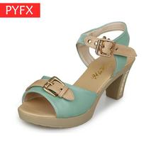 Summer new fashion color matching Roman sandals Womens classic mature urban female white-collar work Clear Neon High Heels shoes