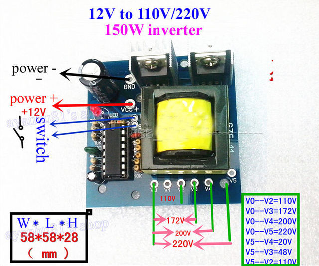 Dc Ac Converter Input 12v To Output 110v 200v 220v Ac 150w