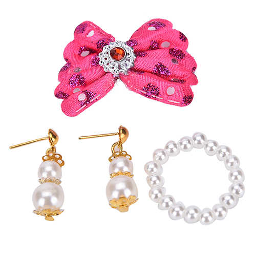 1 Set New Plastic Jewelry Pearl Necklace Earrings For Doll Accessories For Kids Best DIY Gift For Girls' Doll