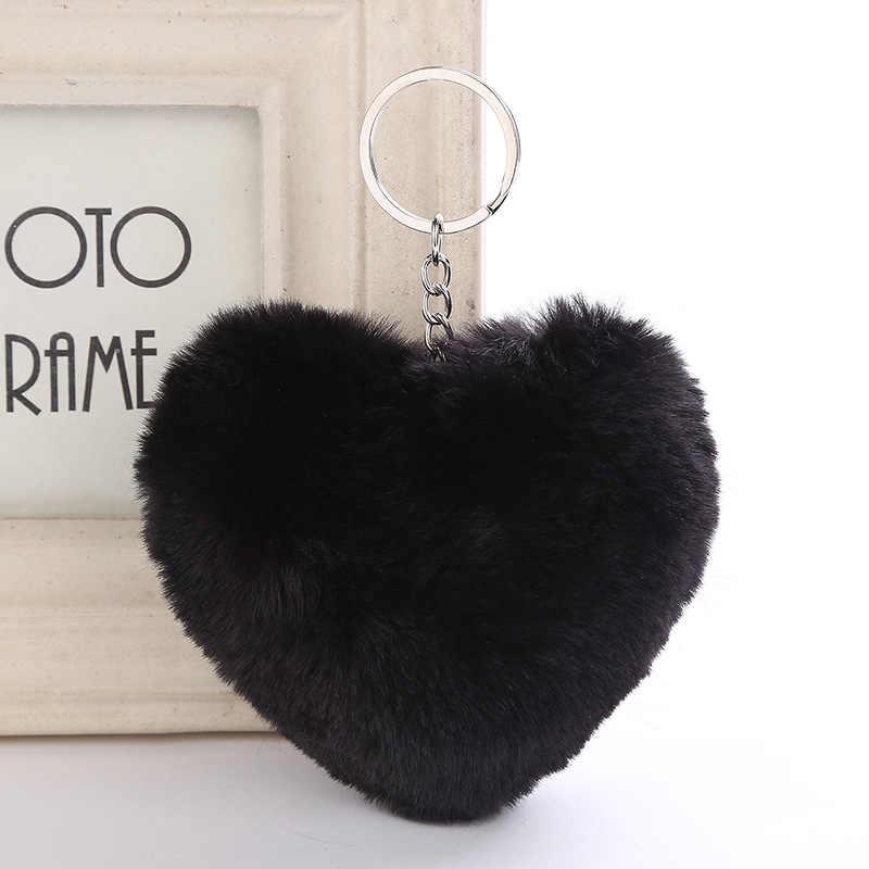 Fofo Fur Pompom Keychain Macio Forma de Coração Cor Sólida Faux Pele De Coelho Bola Pompom Bolsa do Presente do Anel Chave Do Carro Acessórios 6C2749