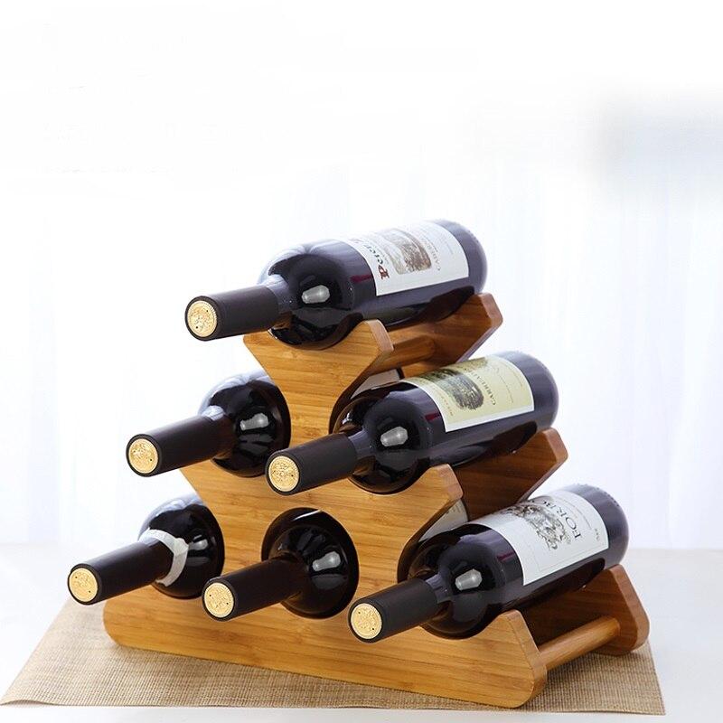 Européen solide en bois rouge vin Rack Stand cuisine stockage Stand vin bois Rack bouteilles vin Rack Stand stockage détient 3/6
