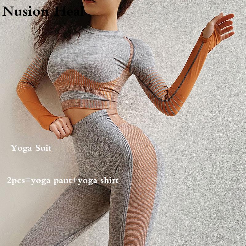 2 Pcs Yoga Set Für Frauen Langarm Shirts Fitness Crop Top Scrunch Butt Sport Hosen Ombre Nahtlose Gym Kleidung Sport Anzüge