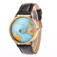 2015 New Fashion Casual Watch Men Women Wristwatch Personality World Map Airplane Pattern Leather Quartz Watch