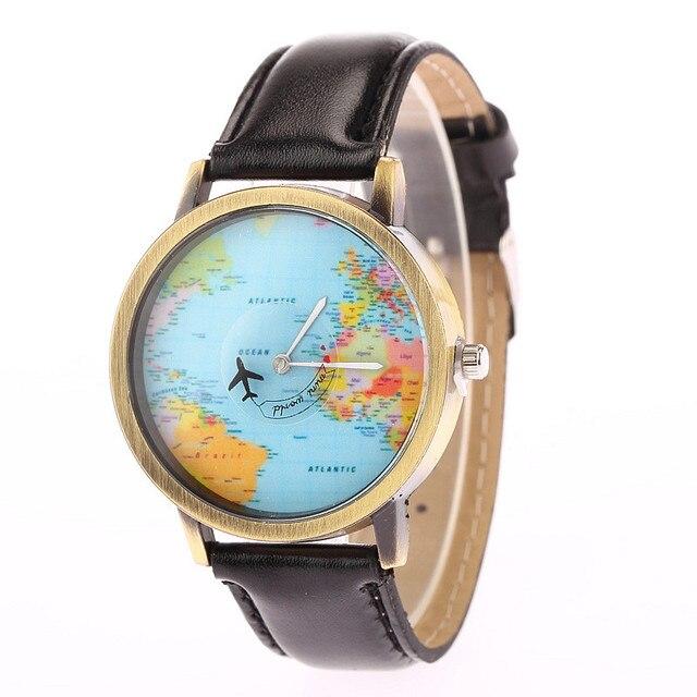 2018 New Fashion Casual Watch Men Women Wristwatch Personality World Map Airplan
