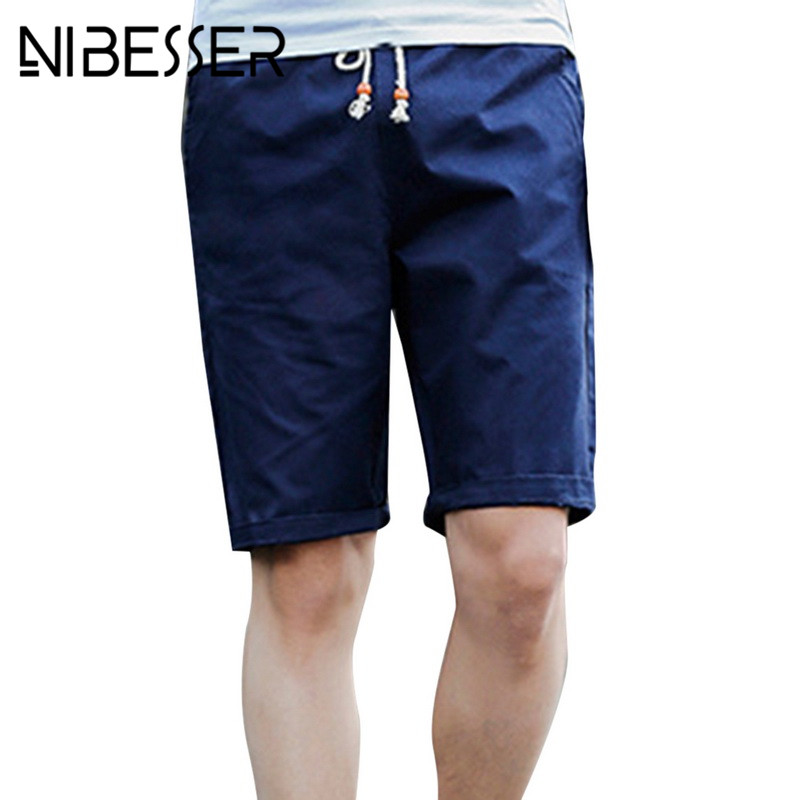 NIBESSER Board Shorts Elastic-Waist Quick-Dry Male Beach Casual Solid Loose Seaside Fifth