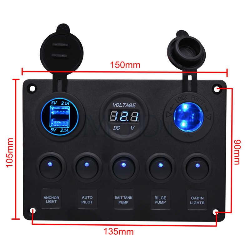 LMoDri 5 Gang Toggle Switch Panel Dual 5V 4.2A USB Charger Car Voltmeter 12V Cigarette Lighter Socket Power Outlet Panel Switch