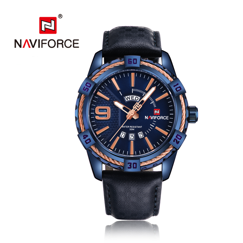 NAVIFORCE Business Mens Watches Male Auto Date Week Blue Leather Fashion Casual Quartz Watch Man Wristwatch Luminous Hands 9117L mg orkina fashion casual mens watches red dial luminous hands japan movt auto date waterproof male quartz wristwatche