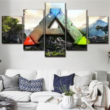 Canvas Posters Home Decor Wall Art Framework 5 Pieces Game Ark Survival Evolved logo Paintings For Living Room HD Print Picture