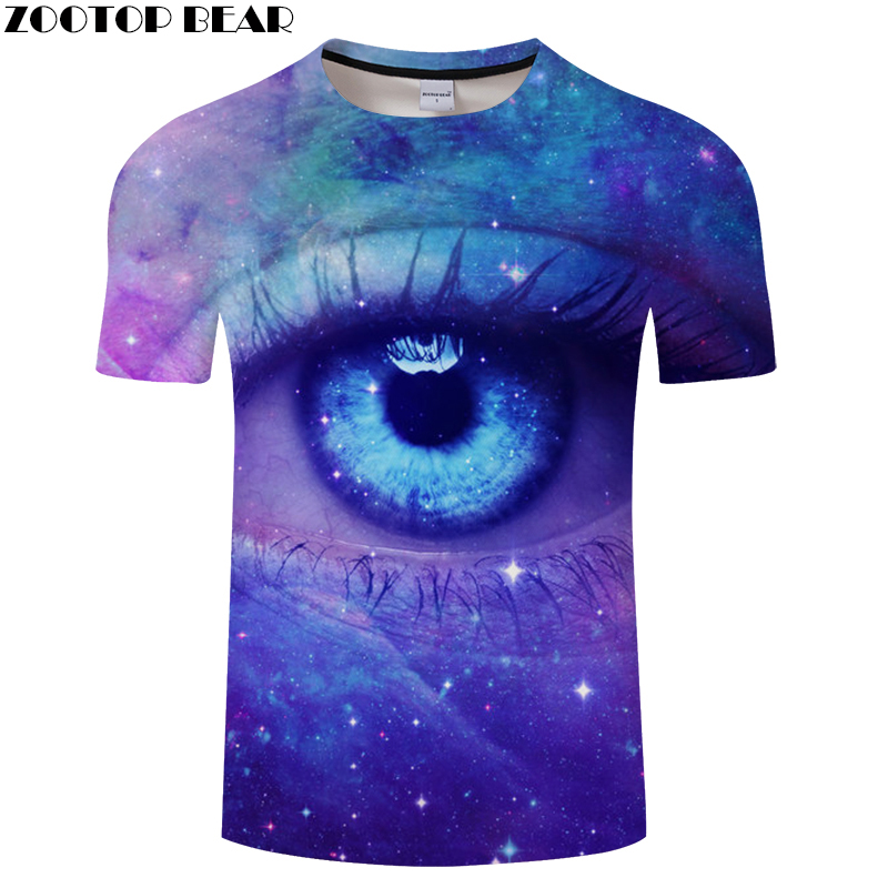 Galaxy Eye Printed T-shirts Men 3d T shirts Funny Tops Tees Unisex Tshirts Harajuku <font><b>Camisetas</b></font> <font><b>Hombre</b></font> New <font><b>6XL</b></font> Tops ZOOTOP BEAR image