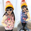 Baby girls vest 2-14Y kaross flower print hooded winter spring and autumn girls clothes kids clothes outerwear thermal kids vest