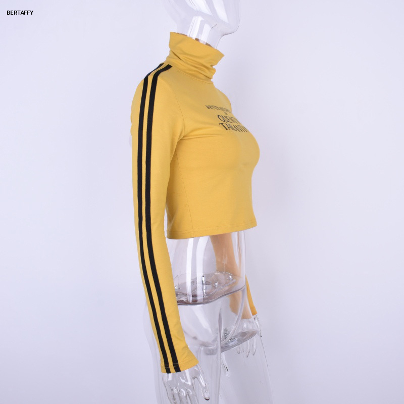 HTB1GMR9XUzrK1RjSspmq6AOdFXaT - Quentin Tarantino Short T-shirt Yellow Sexy Crop Tops Tumblr Women Grunge Stripe Long Sleeve Cotton Knitted Tees Art Fashion