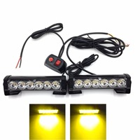 2x6 LED car Grille flash Strobe Warning Light Truck Motorcycle LED Bar Daytime Running Lights led Police Emergency Light 12V