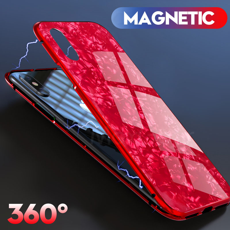 MaxGear Magnetic Adsorption Case For iPhone X Case For iPhone 7 8 Plus Flip Clear Tempered Glass Magnet Cover For iPhone 7 8 X