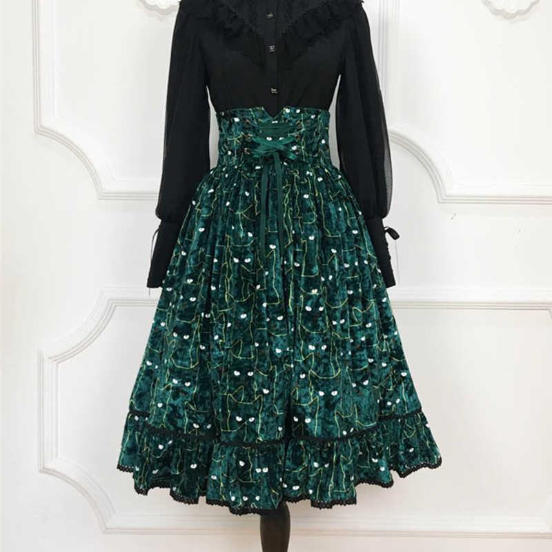 Great Quality Vintage Women Velvet Skirts Winter Autumn Cute Cat Pattern High  Waist Skirt Lace Up eda7f8a1c6f0