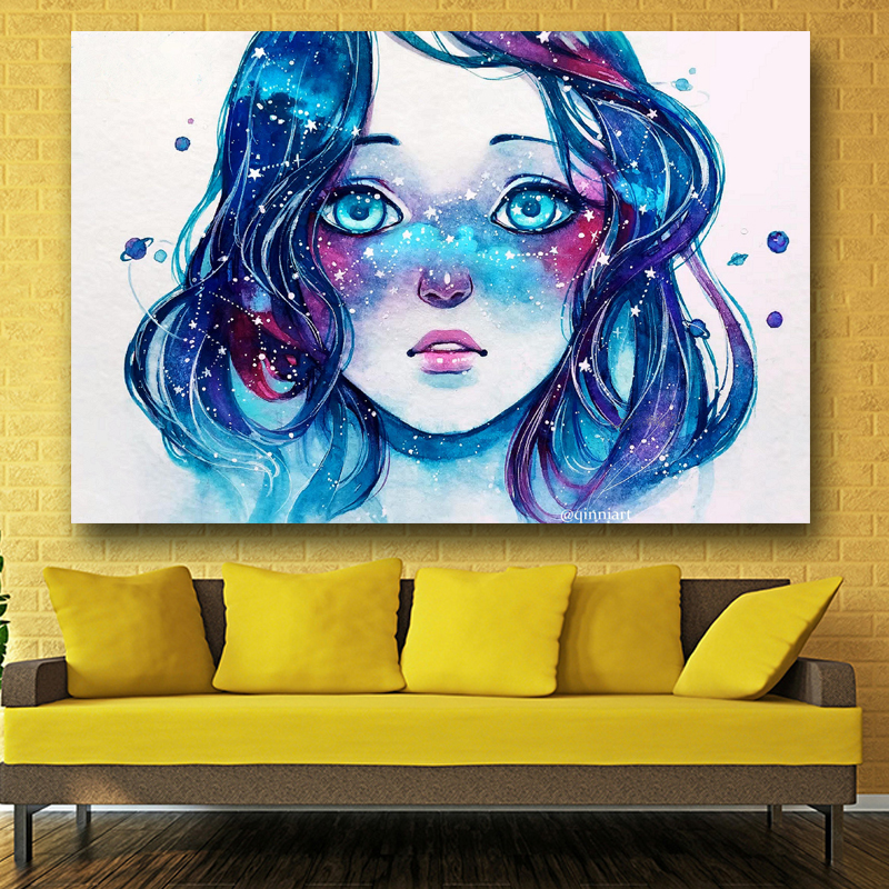 artwork painting starred freckles watercolor blue hair girl pictures
