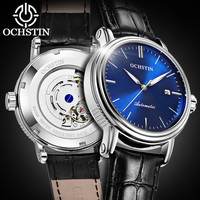 OCHSTIN Watch Luxury Top Brand Leather Mens Mechanical Hollow Skeleton Automatic Male Clock Luminous Date Sport Wristwatch gift