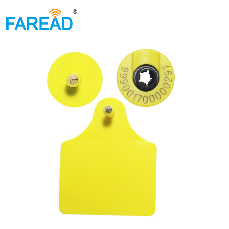 X50pcs Bestsale FREE SHIPPING RFID Passive Visual Tag Animal Ear Tag For Pig/cattle Tracing Laser Printing With Free ICAR Coding