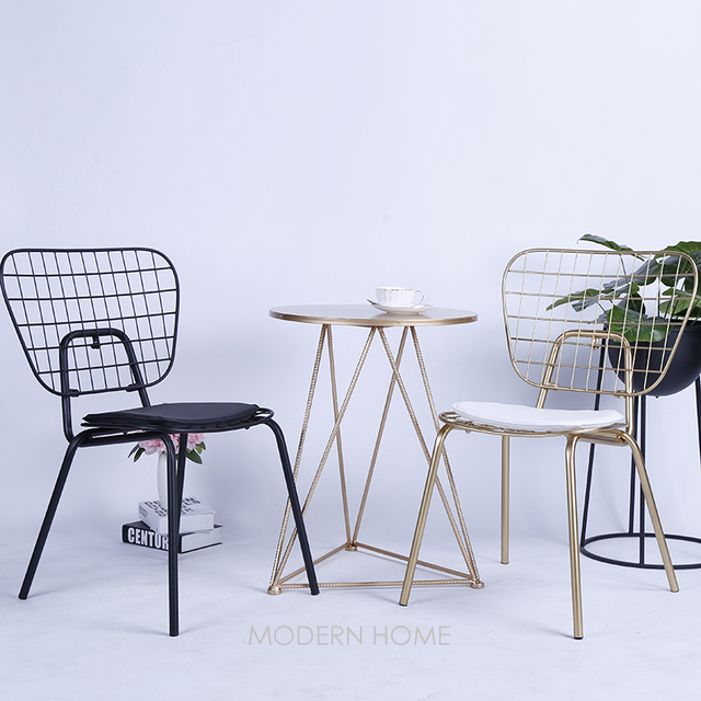 Modern Design White Black Gold Wire Chair Loft Style Metal Dining Side