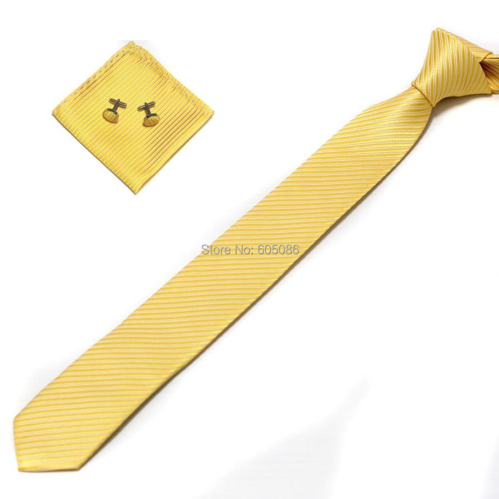 HOOYI 2018 Solid yellow mens slim necktie set Hanky Handkerchiefs cufflinks
