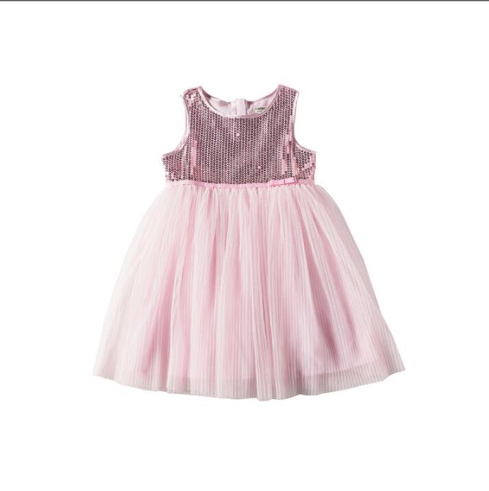 2019 Children Girls Summer Fairy Sequined Mesh Vest Dresses Princess Kids Pink Boutique Dress 5 pcs