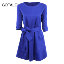 GOFALO Autumn 2017 Dress Women Office Lady Solid Blue Red Half Sleeve Tie Waist Dresses Belted Elegant vestidos Female Clothing